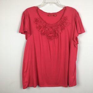 Elle Rosette Embellished Flutter Sleeve Top. XL